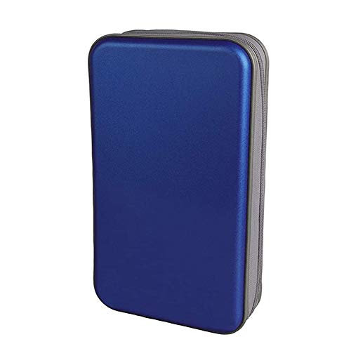 sevenjuly Bolsa De CD CD Holder Caja De La Carpeta De DVD DVD Carpeta del Organizador del Almacenaje De Plástico Duro 80 Capacidad Portátil Azul