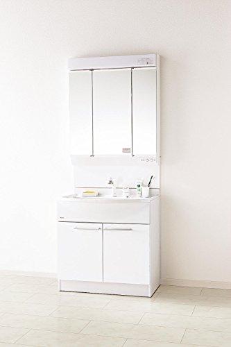 パナソニック 洗面化粧台 エムライン 幅750タイプ ホワイト ミラー:蛍光灯3面鏡 GQM75KSCW + GQM75K3SMK 洗面台 750 75cm