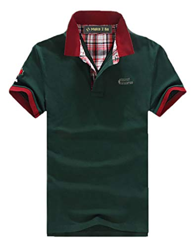 [Make 2 Be] ポロシャツ メンズ カジュアル 半袖 襟元 チェック柄 バイカラー チームカラー 卓球 スポーツ ゴルフウェア ゴルフ ワンポイントロゴ 夏 クールビズ 通気性 速乾 MF19 (33.Green_2XL)