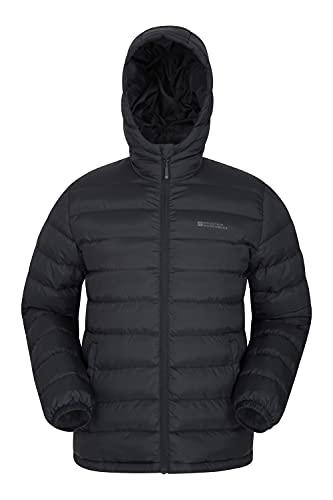 Mountain Warehouse Seasons Herrenjacke - Gefüttert, leicht, wasserbeständige Regenjacke, Mikrofaserfüllung - Ideal für den Winter Schwarz Large