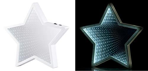 Lunartec Endlosspiegel: Sternförmiger Unendlichkeitsspiegel, 60 weiße LEDs, batteriebetrieben (Tunnelspiegel)