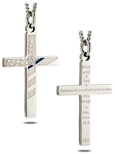 Mens Stainless Steel Flag Cross with Thin Blue Line Necklace