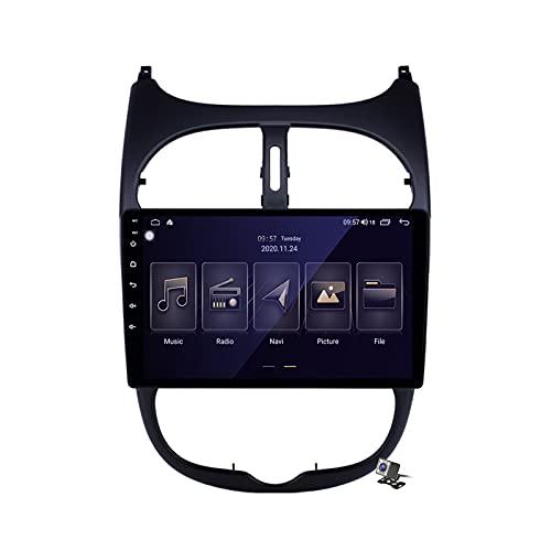 Gokiu Pantalla Coche Android 10 Radio 2 DIN Compatible con Peugeot 206 1998-2012 Soporta Llamadas Manos Libres/FM Am RDS Radio/Carplay/Navegación GPS/Control Volante/AI Voice Control,M150