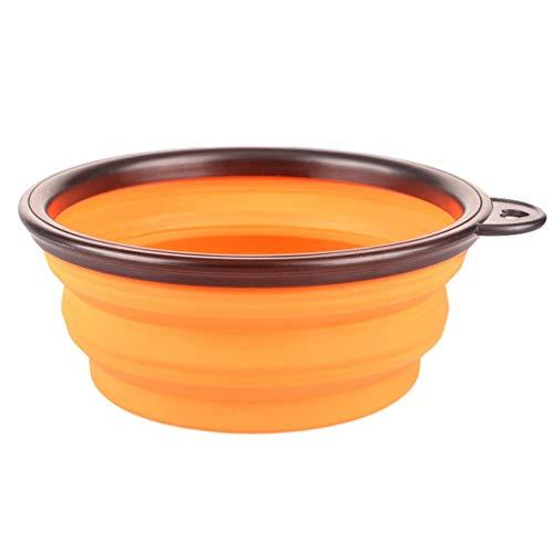 Sentaoa Animali Domestici Alimentare Acqua Ciotola per Cane Gatti Silicone Pieghevole Viaggio Mangiatoia Portatile Abbeveratoio (Orang,13 * 9 * 5.5 CM)