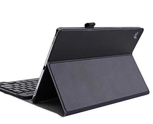 YGoal Tastatur Hülle für HuaweiMatePadT 10,(QWERTY Englische Layout) 7 Colors Backlit Ultradünn PU Leder Schutzhülle mit Abnehmbarer drahtloser Tastatur für HuaweiMatePadT10 9.7, Schwarz