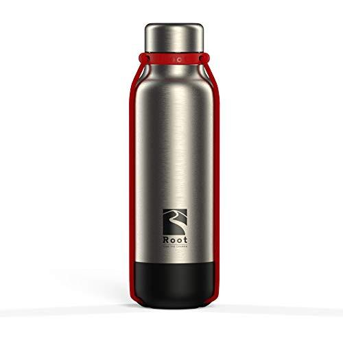Root-FTC Edelstahl Trinkflasche/Wasserflasche mit Deckel in 10 n - 940ml - Thermo Isolierflasche für jedes Getränk, Heiß & Kalt (~24 h) - Trainingsflasche Rot