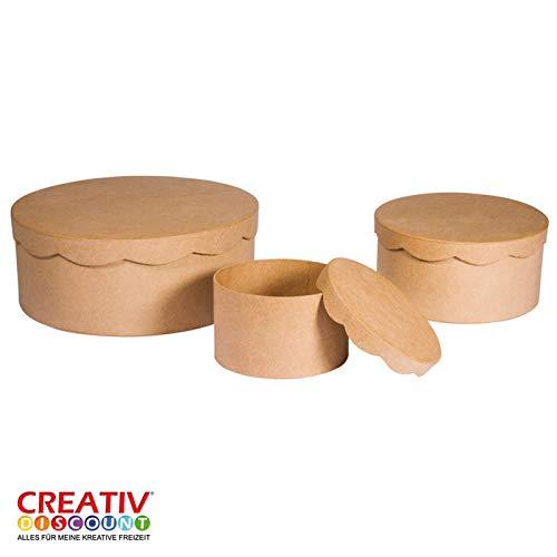 CREATIV DISCOUNT® NEU Pappmaché Schachteln rund, 3er-Set