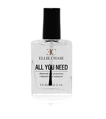 Ellie Chase 2 in 1 Top Coat & Base Coat 0.5 oz – Enhances Color, Shine Finish, Protects Nails, Prolongs Wear, Smoothes Imperfections, NO toluene, NO formaldehyde, NO DBA