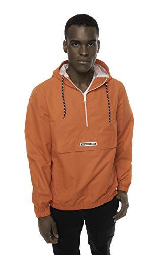 Members Only Solid Popover Jackets for Men Casual, Windbreaker Men, Half Zip Pullover Hooded Jacket (Soft Orange, L)