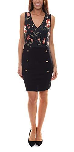 Melrose Etui-Kleid kniefreies Damen Abend-Kleid mit V-Ausschnitt und Blumenprint Jersey-Kleid Party-Kleid Schwarz, Größe:36