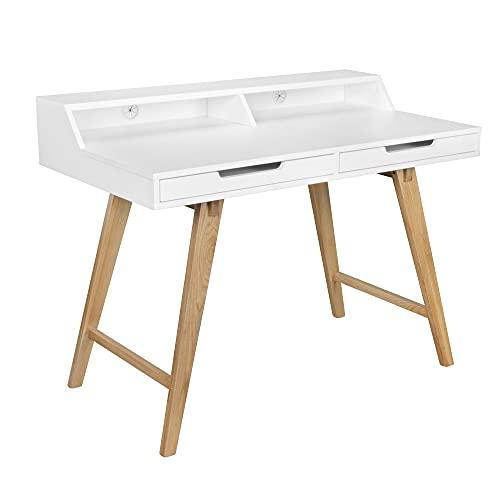 Wohnling Schreibtisch 110 x 85 x 60 cm MDF-Holz skandinavisch weiß matt Arbeitstisch   Design Laptoptisch mit Kabeldurchlass   Bürotisch mit Eiche-Beinen