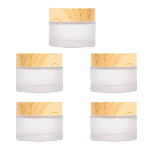 XLKJ 5 Pcs Frasco de Crema Facial de Vidrio, Tarro Cosmético de Vidrio Mate para Cosméticos, Belleza, Almacenamiento de Contenedores para Viaje