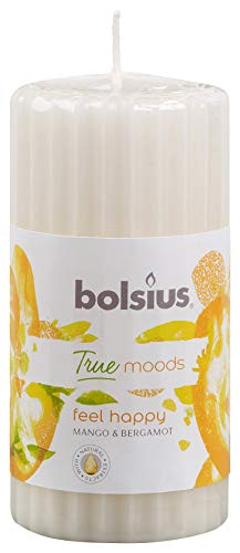 Bolsius Candela Profumata Pillar 120/58 mm Colonna Zigrinata, Colore Bianco, Fragranza Feel Happy (Mango e Bergamotto), True Moods