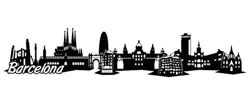 Samunshi® Barcelona Skyline Wandtattoo Sticker Aufkleber Wandaufkleber City Gedruckt Barcelona 120x25cm schwarz