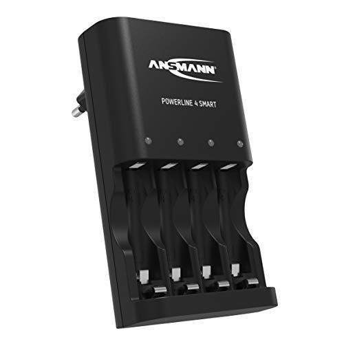 ANSMANN Batterieladegerät für 4x NiMH AA/AAA Akkus - Automatik Akku Ladegerät mit Repair-Modus - Batterie Ladegerät Powerline 4 Smart