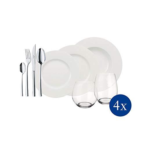 Villeroy & Boch - Wonderful World White 4 Friends Tafel Set, 36 tlg. Service für Feste, Premium Porzellan, weiß, 18/10 Edelstahl, Kristallglas