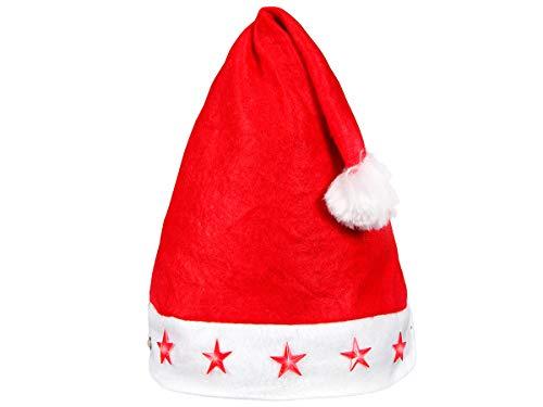 Bonnet de Père Noël lumineux (wm-15) Taille unique pour adultes Homme femme convenable aussi pour ados lumineux avec 5 étoiles à LED clignotante En feutrine rouge toute douce, pompon bordure en blanc