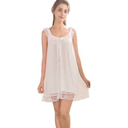 Flwydran Damen Nachthemd Ärmellos Baumwolle mit Spitze Dekoration Nachtkleid Viktorianischer Stil Nachtwäsche