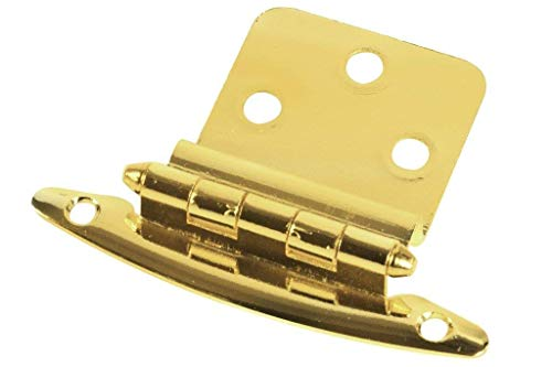 Style Selections #32154BBXLG - 2-3/4 in. (70mm) x 2-1/8 in. (54mm) Surface Cabinet Hinge - Polished Brass - 1 Pair (2 Hinges)