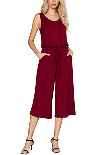 Euovmy Women's Summer Scoop Neck Sleeveless Tank Top Short Long Jumpsuit Rompers Wine Red Small