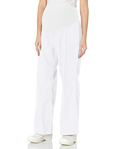 Cherokee Women's Maternity Elastic Waist Scrubs Pant, White, X-Large Petite