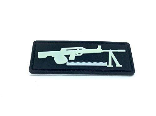 Máquina Pistola Negro mg-42brilla en la oscuridad PVC Airsoft Patch