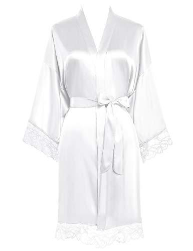 PRODESIGN Damen Morgenmantel Kurz Kimono Lace Ärmel Sommer Satin Bademantel Einfarbig Spitze Robe Sexy Nachtwäsche Damen Schlafanzug Leicht Girl Pajama Party (Weiß)