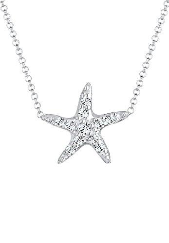 Elli Halskette Damen Seestern Maritim Meer mit Kristalle in 925 Sterling Silber