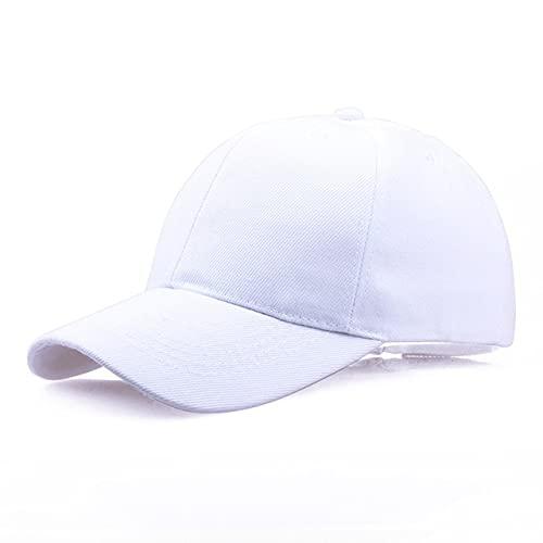 Gorra Negra Gorra de béisbol de Color sólido Gorras Snapback Sombreros Casquette Sombreros Casuales Ajustados Gorras Hip Hop Sombreros de papá para Hombres Mujeres Unisex-White