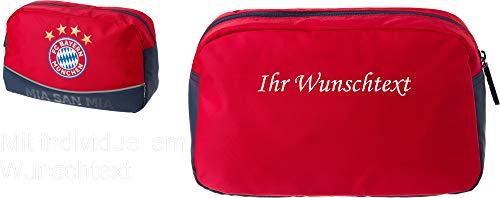 FC Bayern Kulturbeutel rot mit Ihrem Wunschtext in Wunschfarbe
