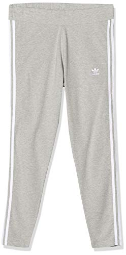 adidas Damen 3-Streifen Leggings, Medium Grey Heather/White, 44