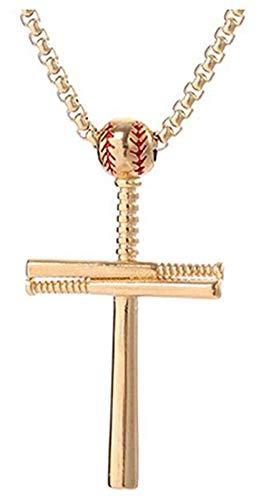 2020newathletesクロスネックレスファッションパーカーペンダントスポーツステンレススチール野球と野球バットベストギフトクロスネックレス (Color : Golden)
