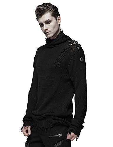 Punk Rave Männer Schwarz Gothic Langarm Pullover Militäruniform Streetwear Shirt Tops S-M