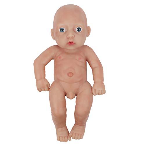 Vollence Realista Bebé Reborn de 28 cm, Muñeco con Cuerpo Completamente Lleno de Platino sólido. Muñeco bebé Realista de Silicona. Muñeco bebé de Silicona Suave y Natural Hecho a Mano - Chico