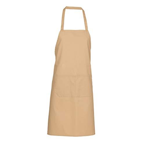 GARY´S Delantal de cocina – Bolsas – Restaurante Barbacoa con cinturón ajustable cuello – para hombre y mujer 90 x 75 cm 116BC0 crema Talla única