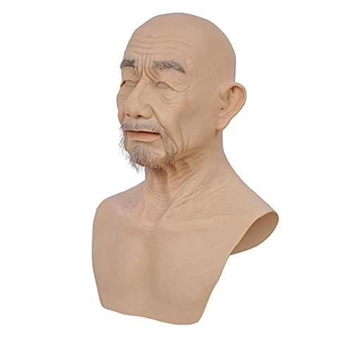 YO-T-YO Silicone Head Mask Realistic Old Man Face Mask for Cosplay Transgender (Brown color)