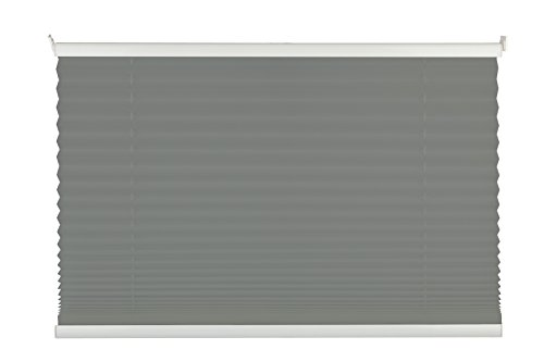 mydeco® 80x210 cm [BxH] in hellgrau - Plissee Jalousie ohne bohren, Rollo für innen incl. Klemmträger (Klemmfix) - Sonnenschutz, Sichtschutz für Fenster und Türen