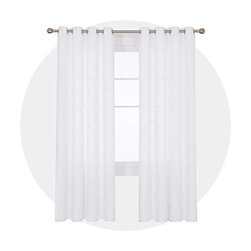 Deconovo Tende Finestre Soggiorno Moderne Semitrasparenti con Occhielli Tende Decorative Elegante Tinta Unita per la Casa 140x280 CM Bianco