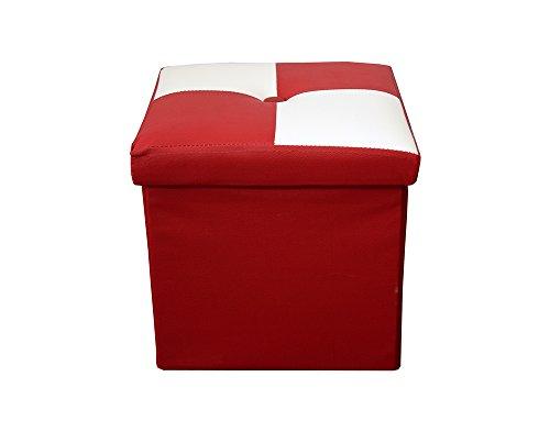 Rebecca Mobili Puf Cuero sintético, Puff, contenedor, reposapiés, Taburete Cuadrado Rojo, Sala de Estar- Medidas: 30 x 30 x 30 cm (AxANxF) - Art. RE4259