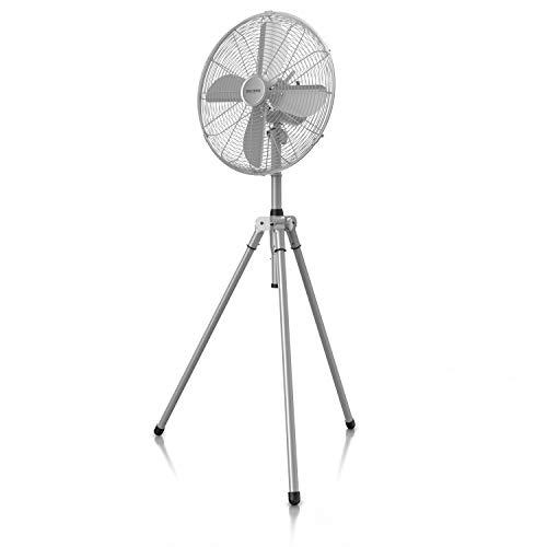 Brandson – Standventilator mit Dreibeinstativ - Ventilator Edelstahl Design - mobiler Lüfter - 3 Geschwindigkeitsstufen - 60 Watt - 45 cm Durchmesser - Modell 2021 - Silber Edelstahl