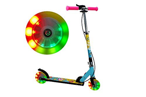 FA Sports - Patinete unisex para niños Velotouro con luces LED en las ruedas, altura regulable, freno en el manillar y mecanismo patentado de plegado en un clic