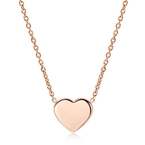 LENIRA® Hochwertige Frauen Herz Halskette - perfekt geeignet als Geschenk + Schmuckverpackung (Roségold)