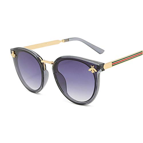 Sunglasses Gafas de Sol Gafas De Sol De Ojo De Gato De Lujo para Mujer, Gafas De Sol Redondas De Abeja A