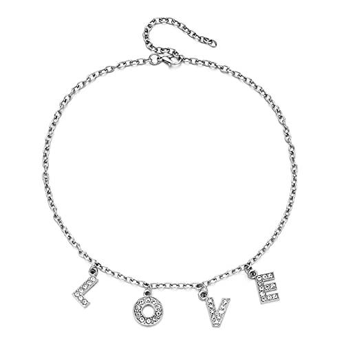 XCWXM Colgante de Perra con Letra de Plata esterlina, Collar de enseñanza Divertido, Encanto Femenino, Cadena de clavícula para Fiesta, Accesorios de joyería-Amor