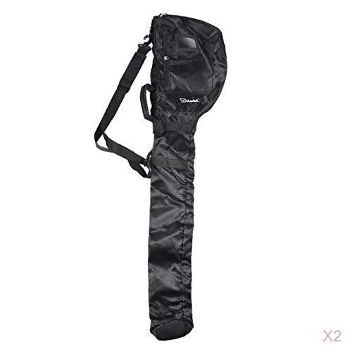 2 Count Portable Golf Bag Carrier Course Training Practice Travel Case Rack