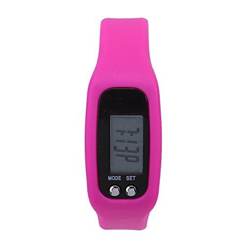 Cloudbox Pulsera inteligente Reloj Pulsera Contador de calorías Podómetro Deportes Fitness (Rosa Rojo) Correa de silicona
