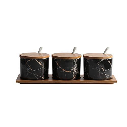 XGF® Barattolo portaspezie in ceramica con cucchiaini
