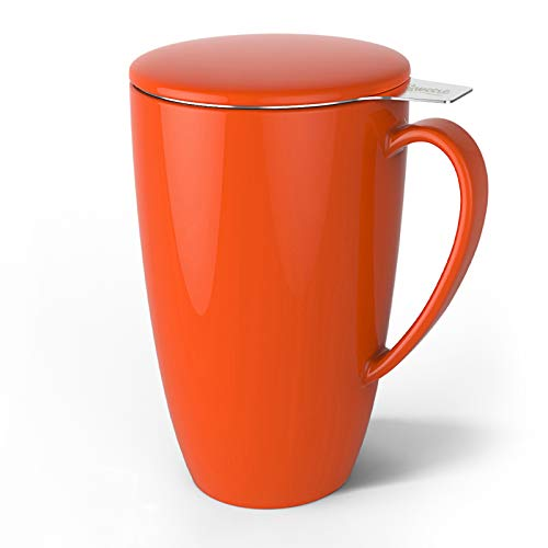 Sweese 201.106 Porcelain Tea Mug with Infuser and Lid, 15 OZ, Orange