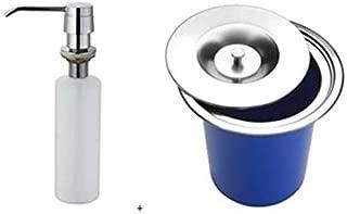 Lixeira Pia Cozinha Embutir 5 Litros Inox + Dosador Metal