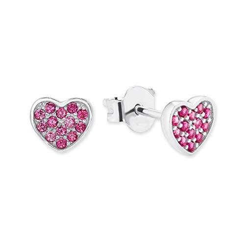 s.Oliver Mädchen-Ohrstecker 'Herz' aus 925 Sterling-Silber, Zirkonia pink